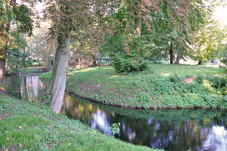 Reste eines viereckigen Burgplatzes, teilweise von Wassergräben umgeben (Foto: F. Ruchhöft)